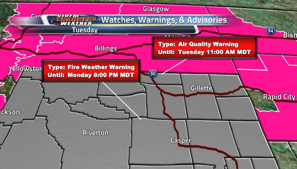 Air quality alerts are present over most of the state and there are even fire weather warnings...