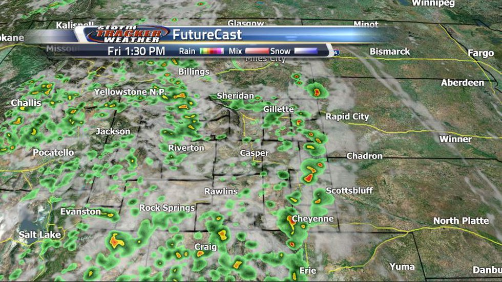FutureCast is showing a similar pattern of storms to today. Rain and storms will pop up around...