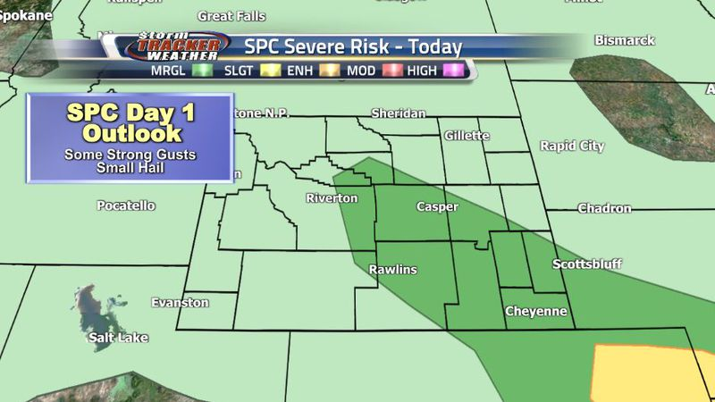 "The Southeastern and Central Regions of Wyoming are under a Level 1 ""Marginal"" risk for severe..."