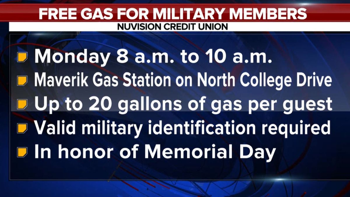 Nuvision Credit Union to pump gas for the military in honor of Memorial Day.