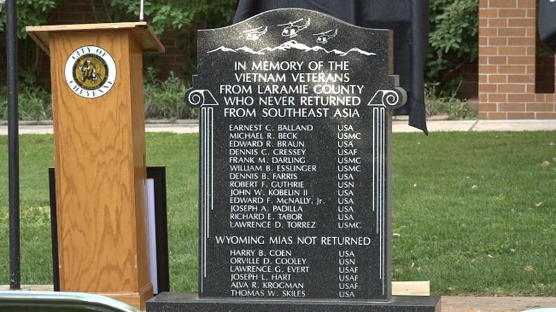 The memorial for the Laramie County Vietnam Veterans that are still POW's