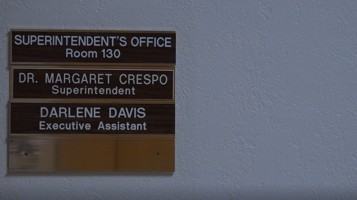 New LCSD1 Superintendent, Dr. Margaret Crespo's sign outside her door in the Administration...
