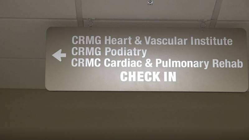 The sign pointing to the CRMG Heart and Vascular Institute at CRMC on Tuesday July 21, 2021.
