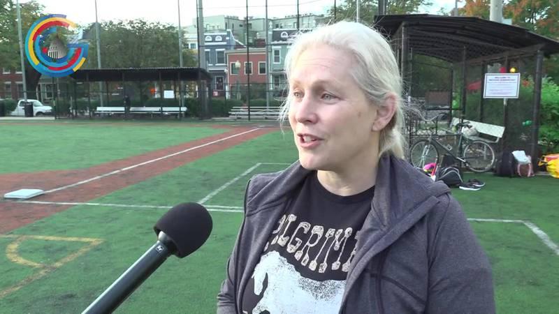 Sen. Kirsten Gillibrand (D-NY) in congressional women's softball game