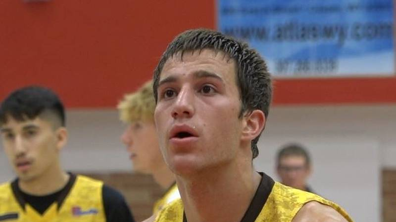 Dalton Peterson attempts a free throw during the Wyoming Coaches Foundation North-South...