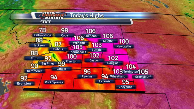 The heatwave continues to build on Wyoming as much of the eastern and central regions of the...