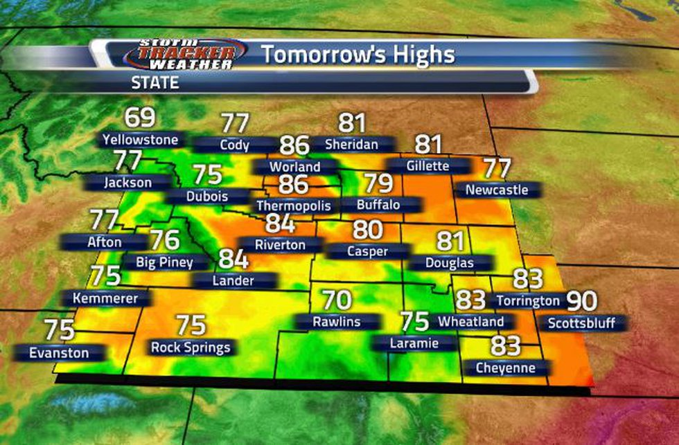 Tomorrow will be much cooler compared to temperatures over the last couple of days.