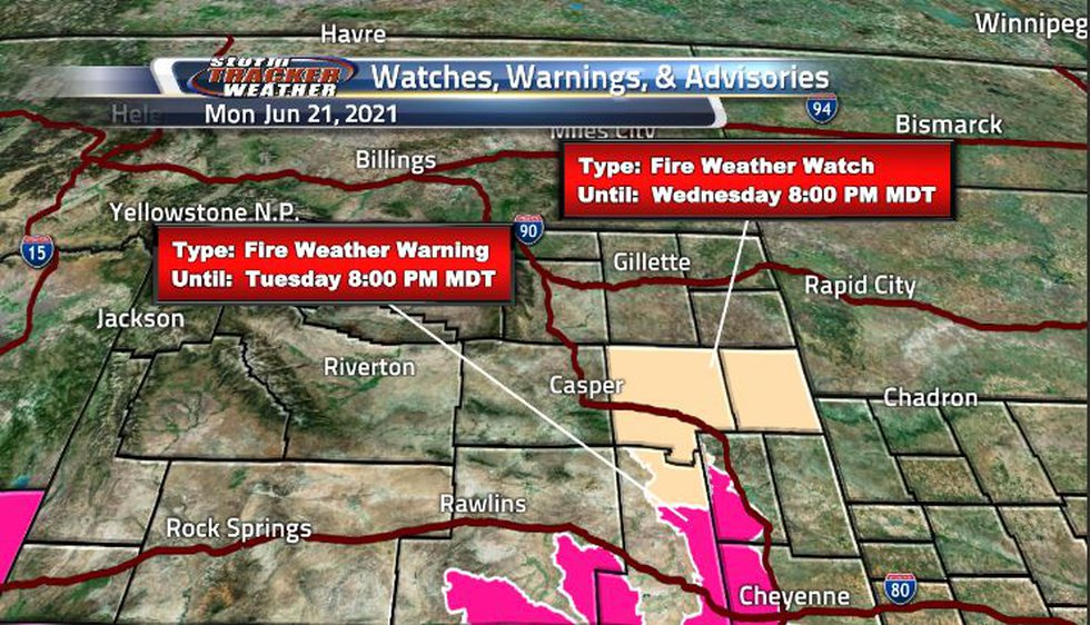 Fire weather watches and warnings are scattered throughout the eastern side of Wyoming as dry...