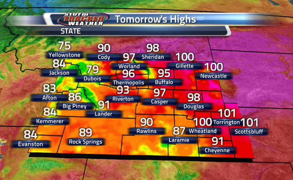 The eastern border is going to be seeing triple digit temperatures once again.