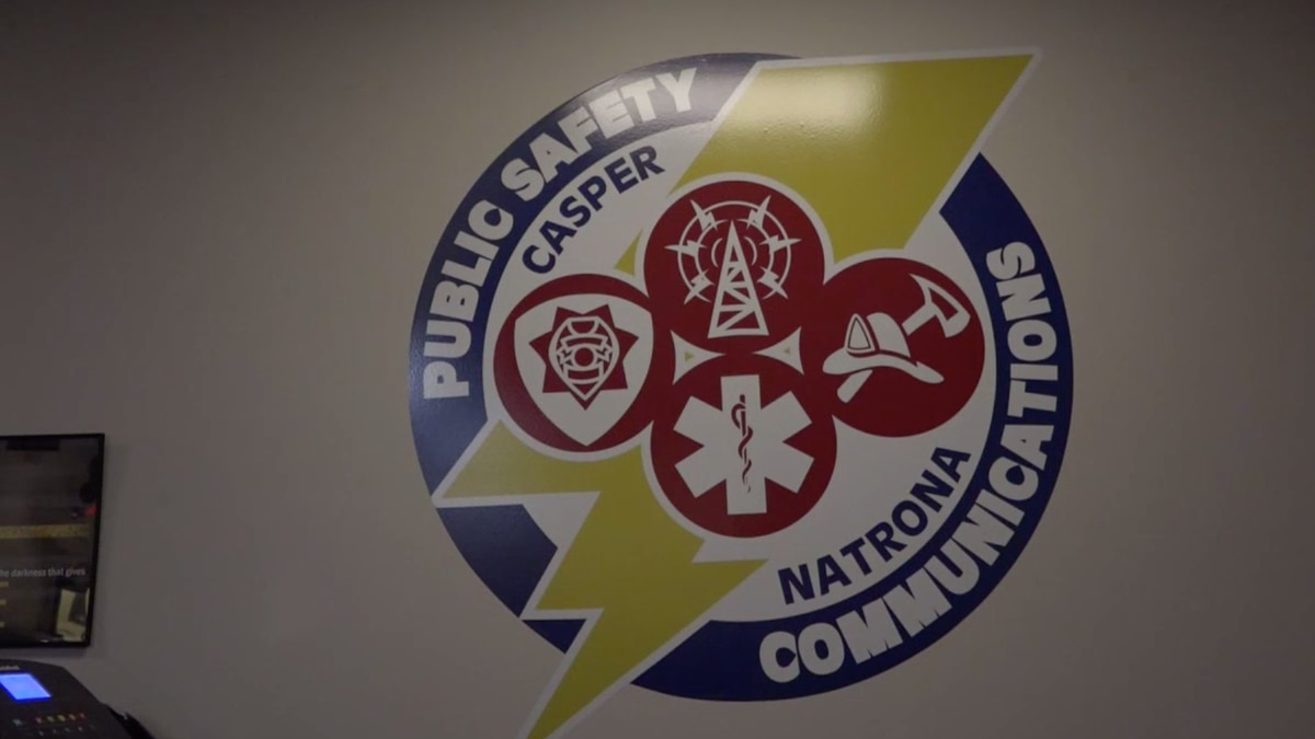 The Casper-Natrona County Public Safety Communications Center logo at the PSCC in Casper, Wyo....