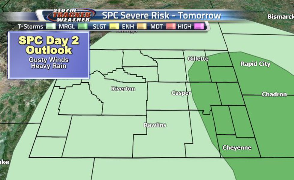 There is a Marginal Thunderstorm Risk along the eastern border for tomorrow's showers.