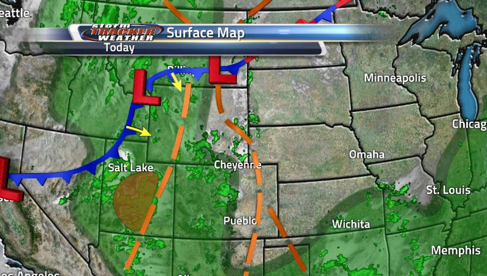 The cold front is starting to surround the state while the two troughs are fueling the current...