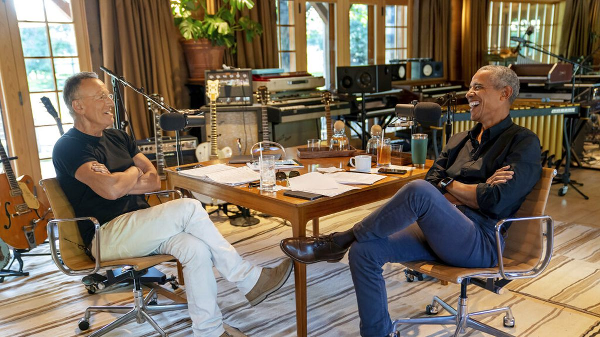 Bruce Springsteen, left, appears with  former President Barack Obama during their podcast of...