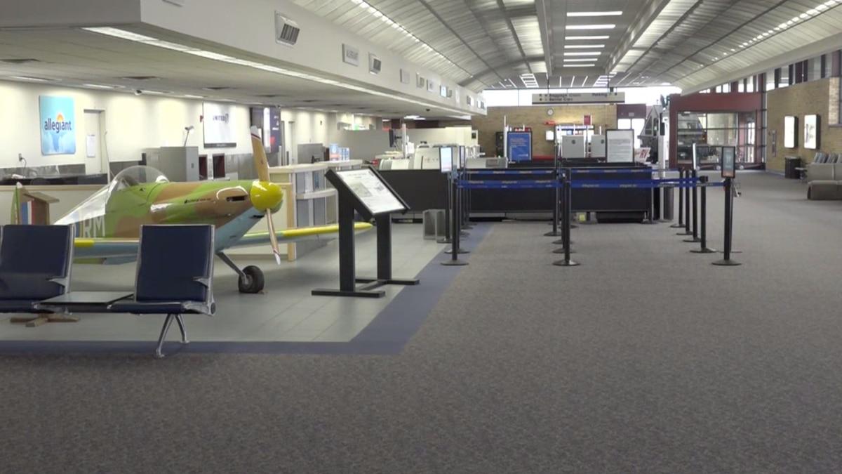 The check-in area at Casper-Natrona County International Airport in Natrona County, Wyo.