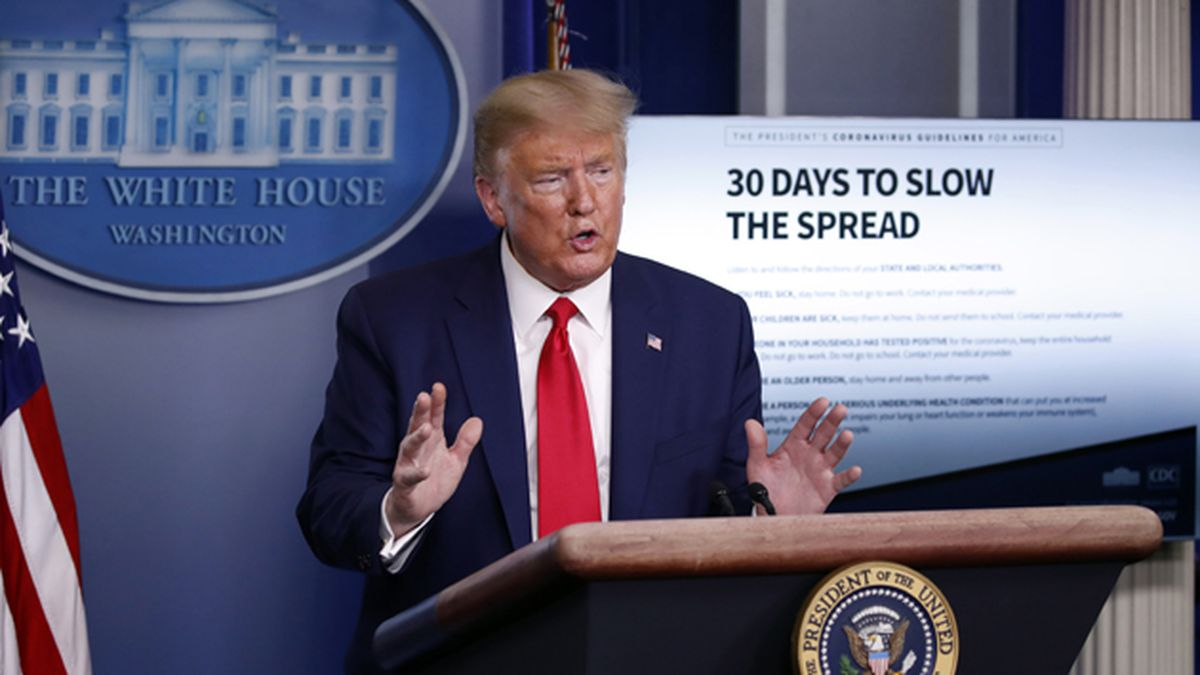 President Donald Trump speaks about the coronavirus in the James Brady Press Briefing Room of the White House, Tuesday, March 31, 2020, in Washington. (AP Photo/Alex Brandon)