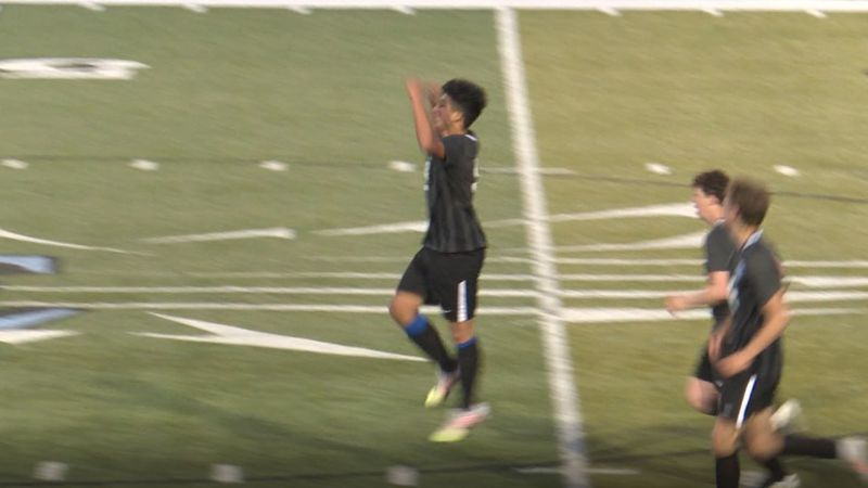 Carlos Moreno celebrates after scoring the go-ahead goal in Cheyenne East's 3-2 overtime win...