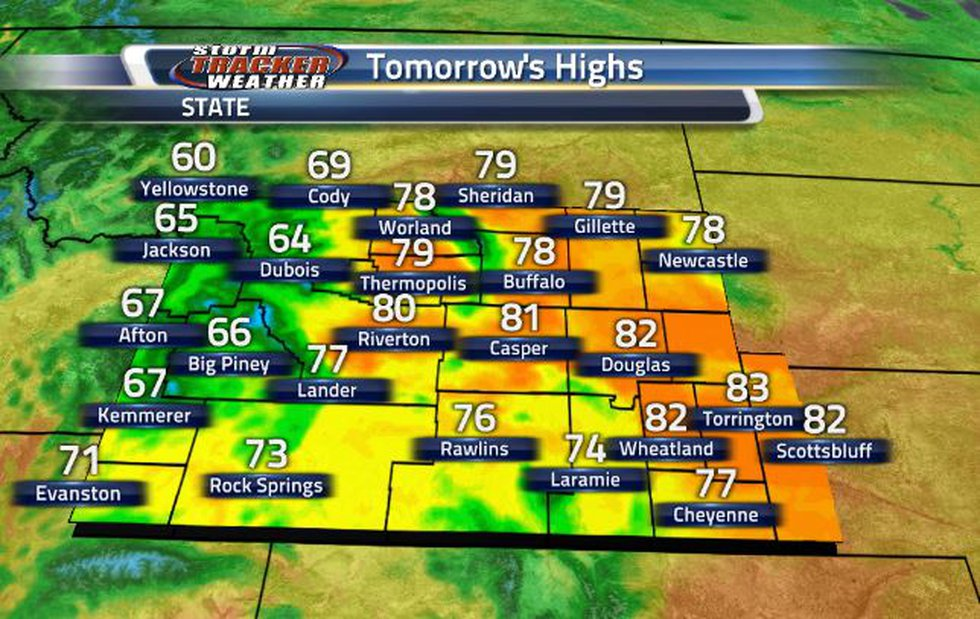 Temperatures will be increasing back into the 80s starting tomorrow.