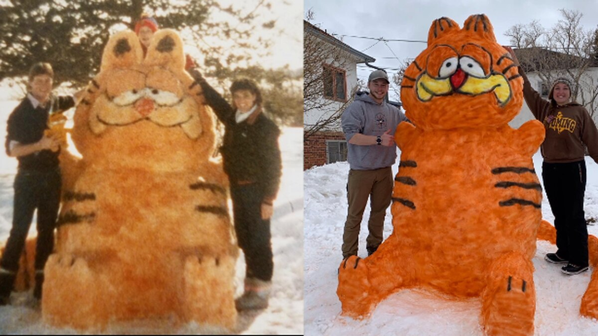 Garfield sculpture (1985 on the left, 2021 on the right) Photo Courtesy : Jennifer Hayden