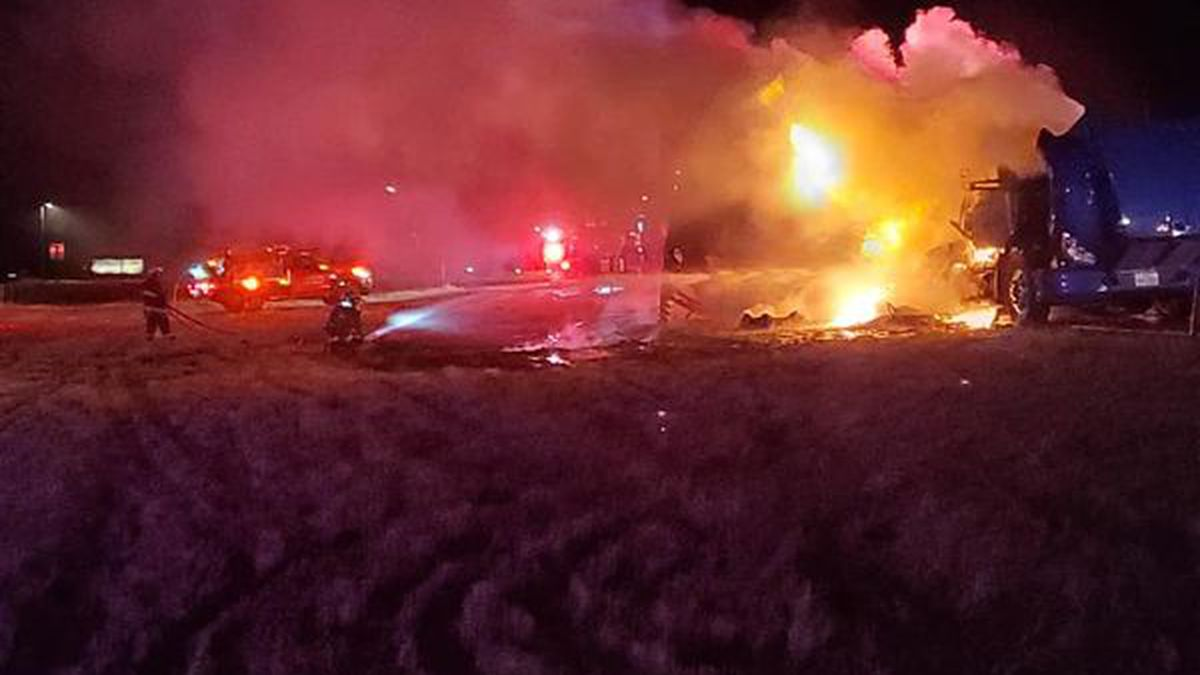 The fire incinerated a semi-truck near Burns, WY on Christmas Day.