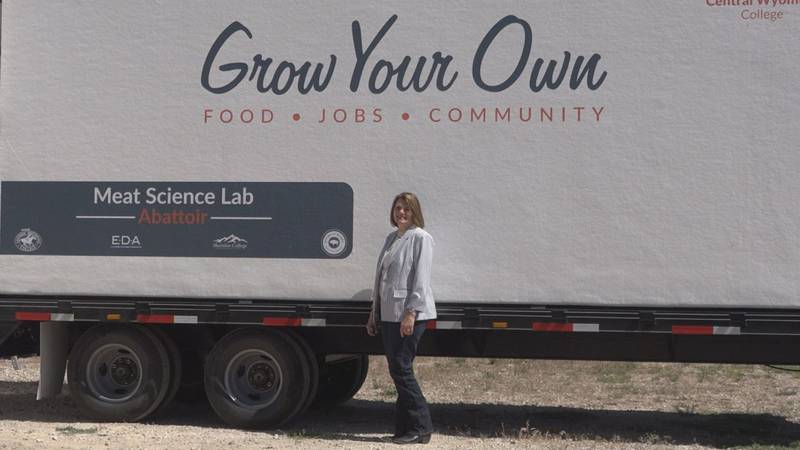 The First Lady of Wyoming toured Fremont County on July 15, 2020. She is standing in front of...