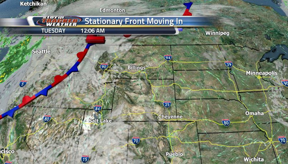 Later in the week, a stationary front will be moving in, increasing out cloud cover as well as...