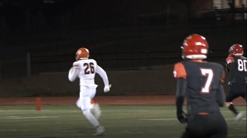 Isaac Schoenfeld flies up the field for a season-long 88-yard touchdown reception  in Rock...