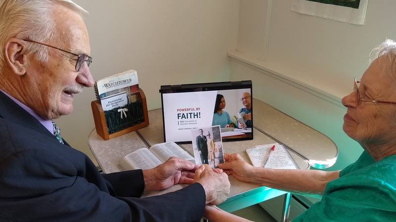 Winton (L) and JoAnn (R) participate in virtual activities