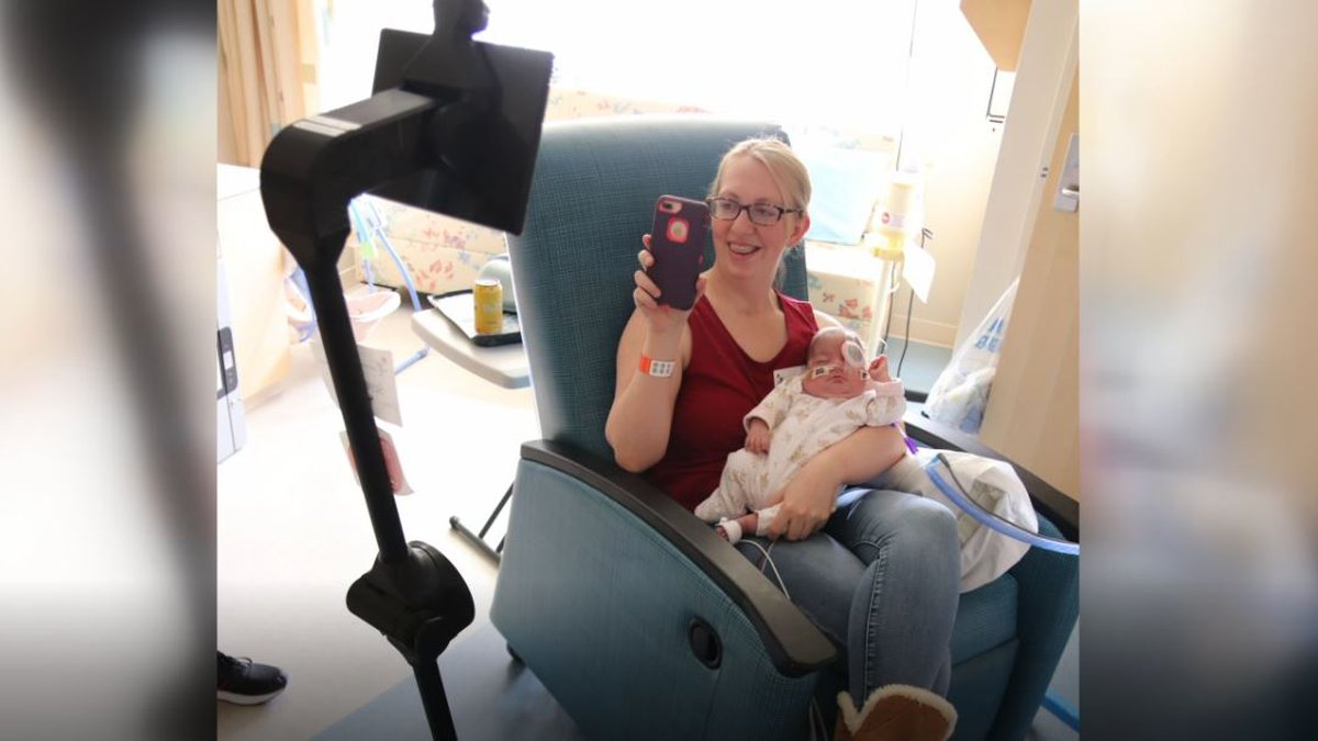 Amber Boisselle video chatting with her son Samuel while at Children's Hospital Colorado's NICU.