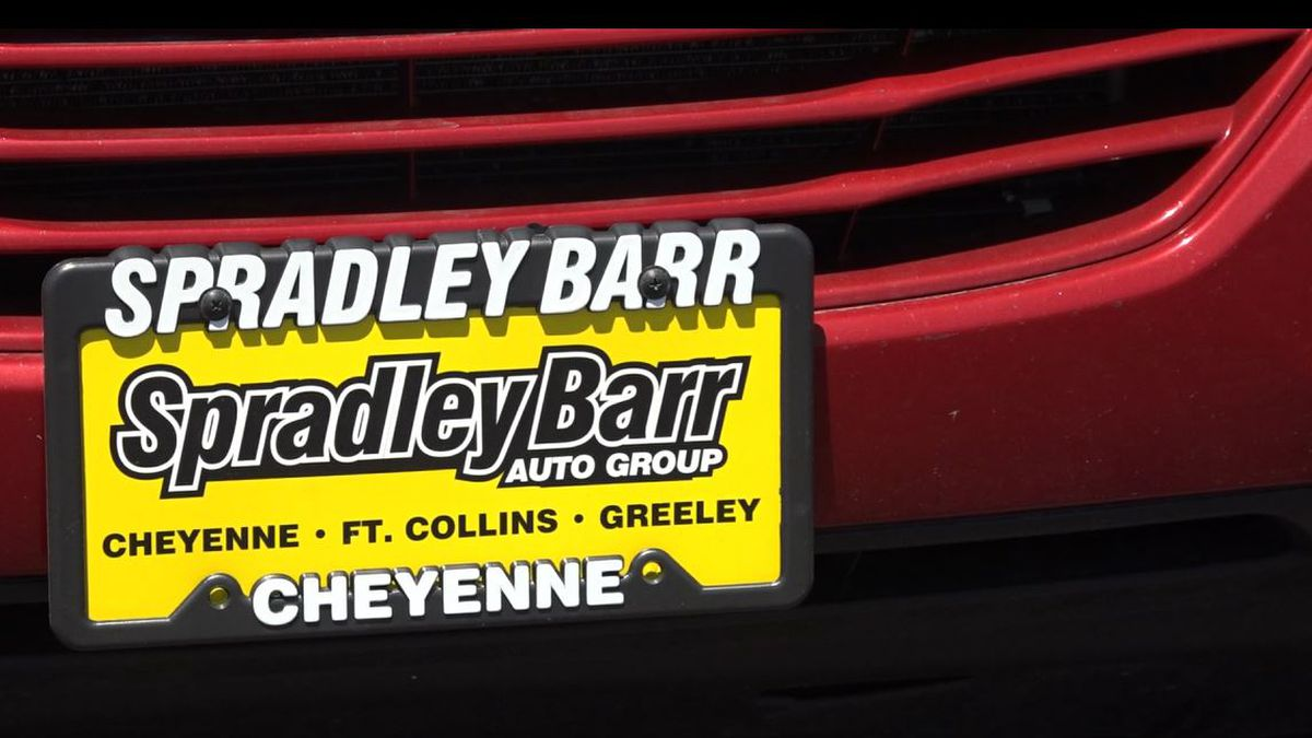 A license plate on one of Spradley Barr Motors cars on Tuesday June 8, 2021.