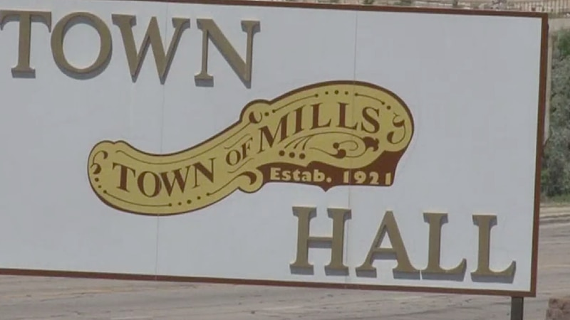 A Mills Town Hall sign in Mills, Wyo.