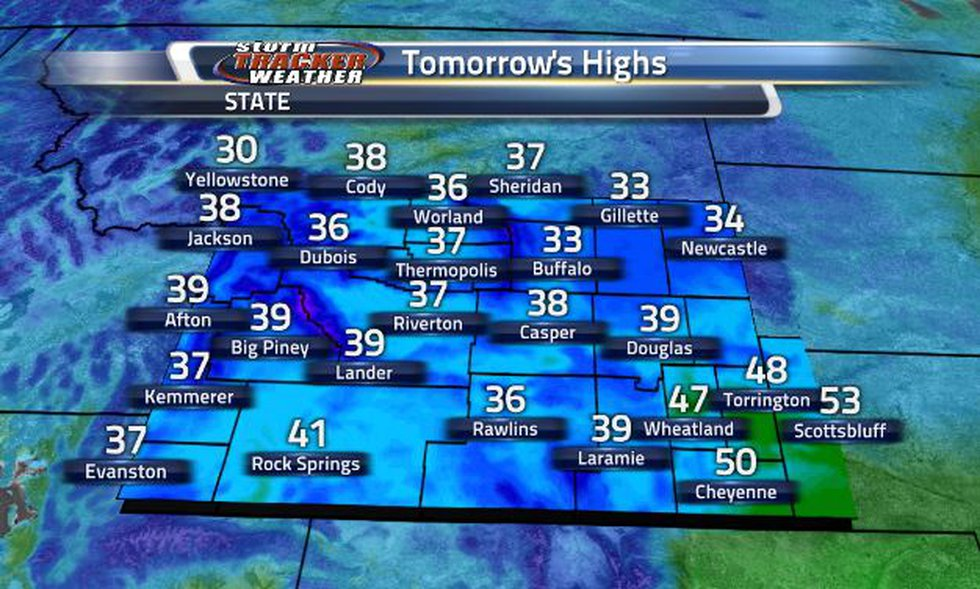 Tomorrow's high will look like today's high temperatures.