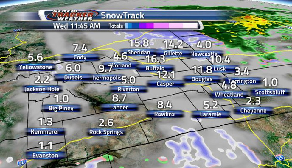 By Wednesday afternoon, the frontal system will have pushed to the East of Wyoming.