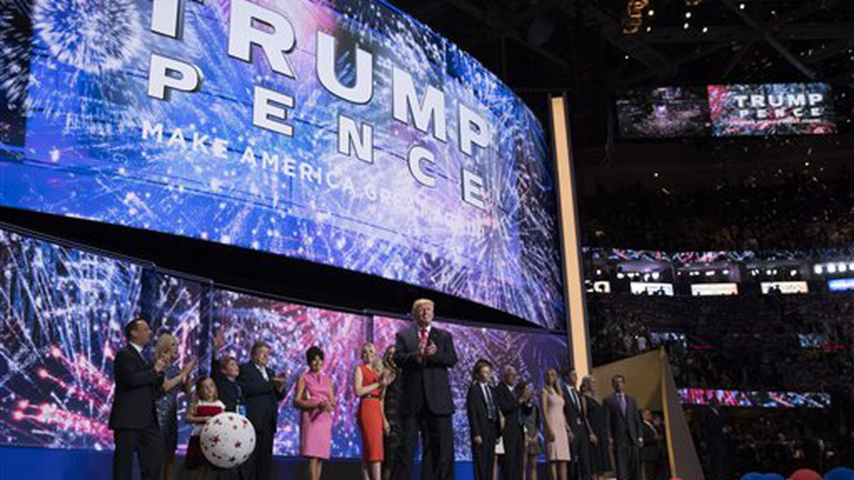 Republican presidential candidate Donald Trump celebrates on the final night of the Republican National Convention, Thursday, July 21, 2016, in Cleveland. (AP Photo/Evan Vucci)