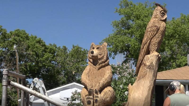 "Faye Braaten aka ""Chainsaw Mama"" works on a wood sculpture in Cheyenne on Wednesday June 9, 2021."