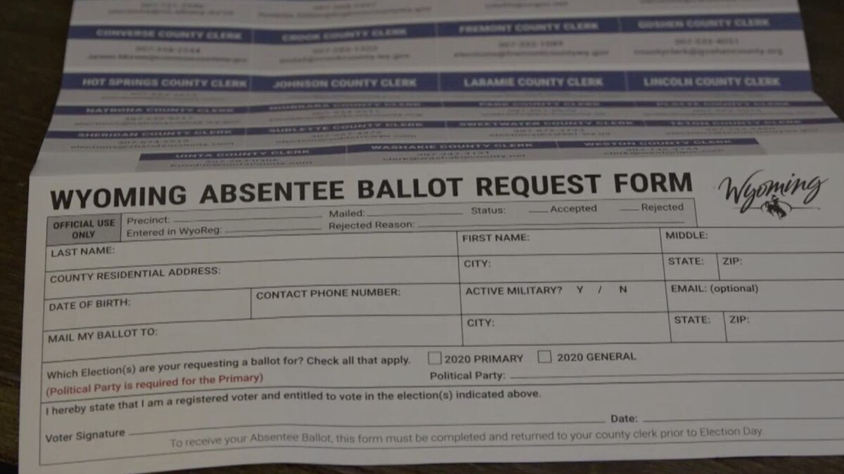 An absentee ballot request form in Casper, Wyo. sent to Wyoming voters on Monday, June 1, 2020.