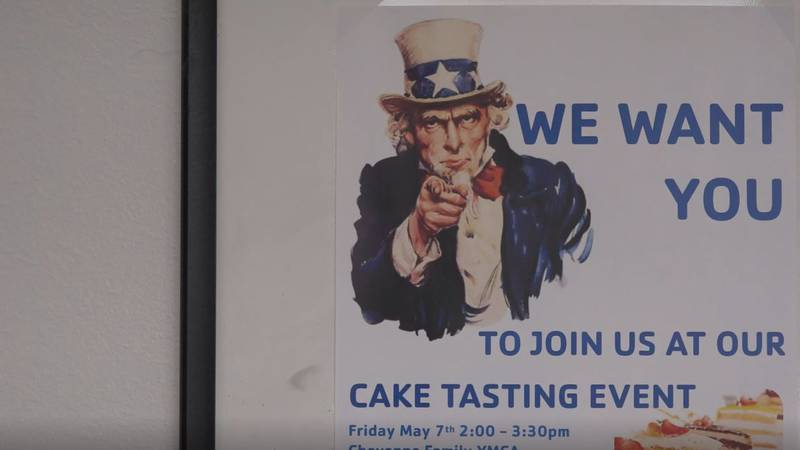 A flyer for the Cheyenne Family YMCA's cake tasting event for local veterans on Friday.