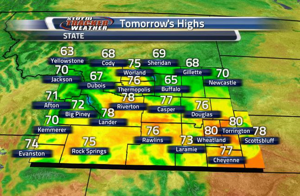 High temperatures tomorrow will be in the 70s across the state.