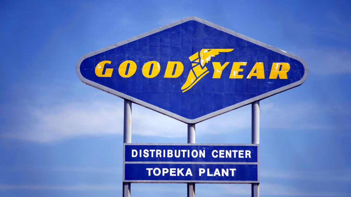 FILE - In this Aug. 20, 2020 file photo, signage for the Goodyear Distribution Center stands in...