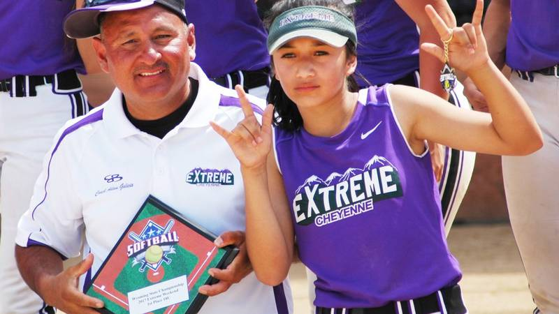 Adam Galicia (left) and Ariana Galicia (right) pose for a photo after Cheyenne Extreme won the...