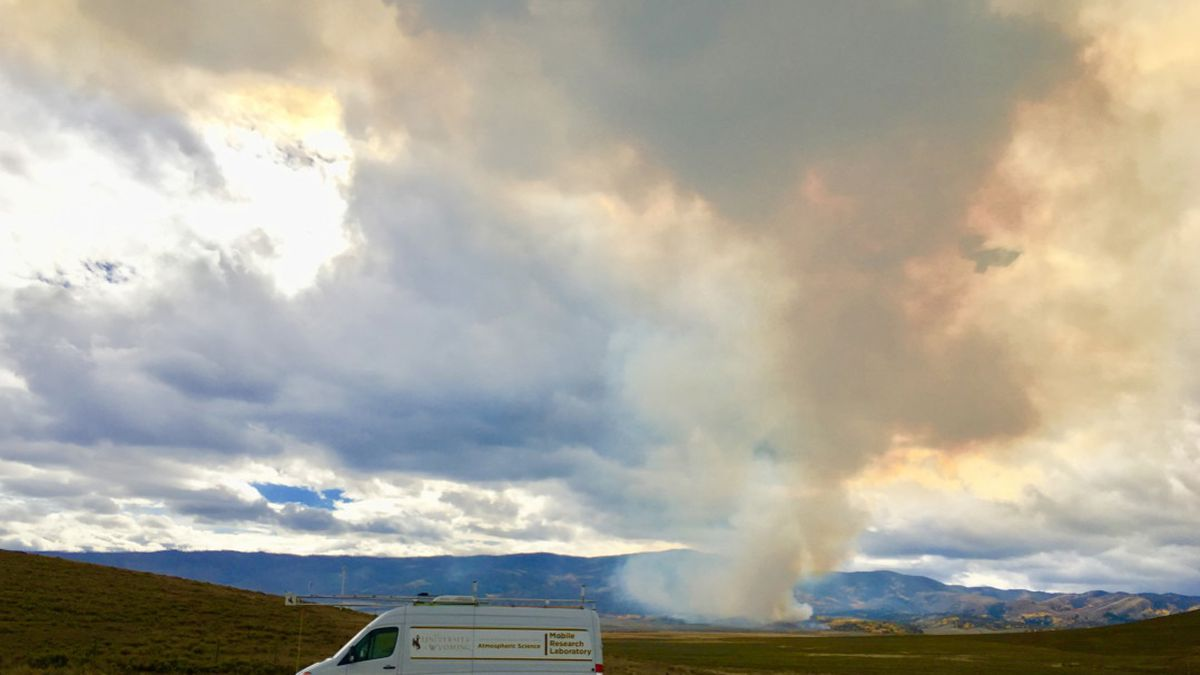 The UW Mobile Lab measures biomass burning smoke in Wyoming from a couple of years ago. This is...