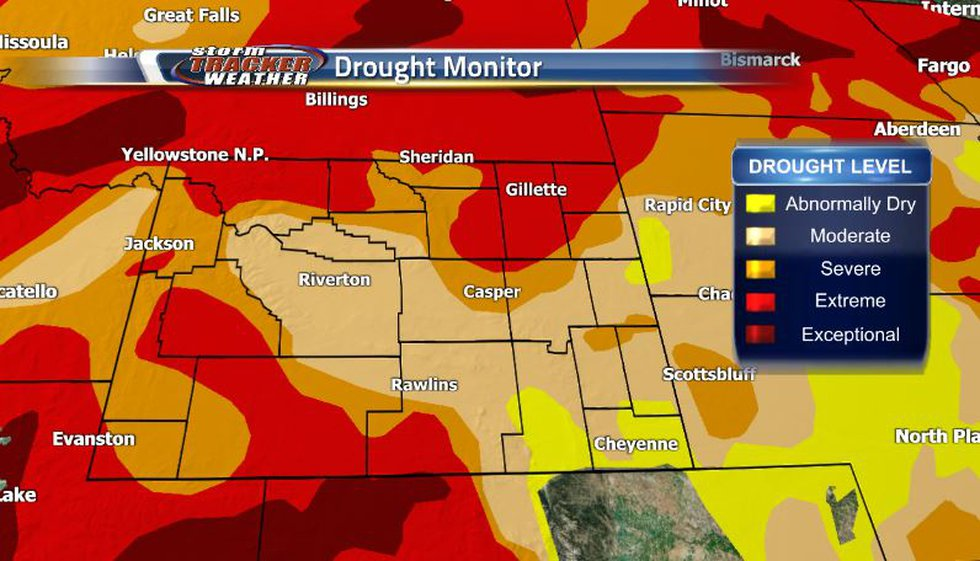 The drought situation has extended further into Laramie county now with moderate drought levels...