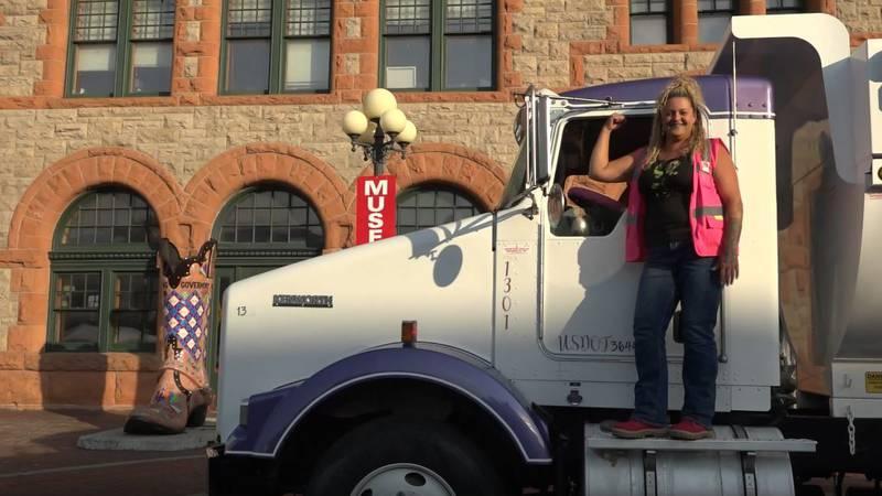 "Irene Montoya and her dump truck ""Knightmare"" on June 15th, 2021."