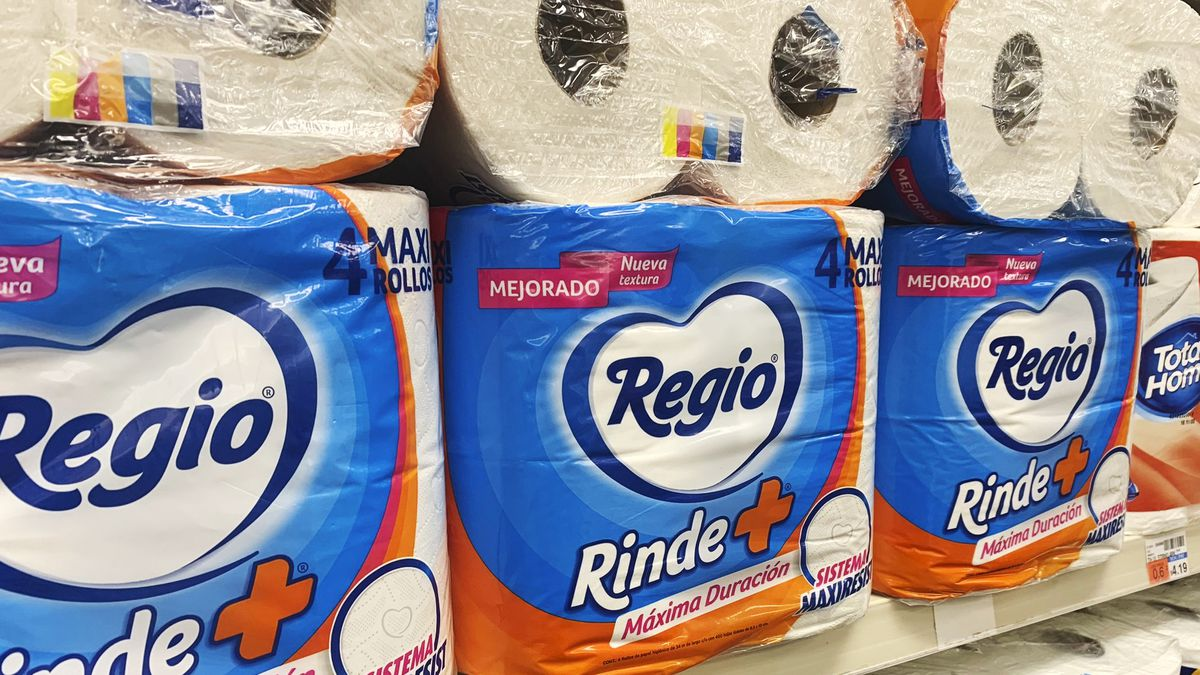 This Sept. 4, 2020 photo shows Regio, a Mexican toilet paper brand, on the shelf at a CVS in...