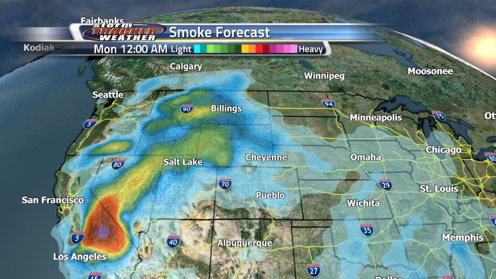 Smoke will start coming back into tonight and early tomorrow morning.