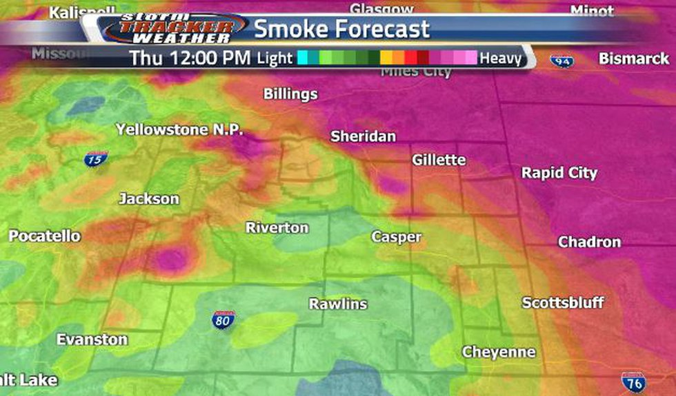 There is a lot of heavy smoke in the northeastern corner today.