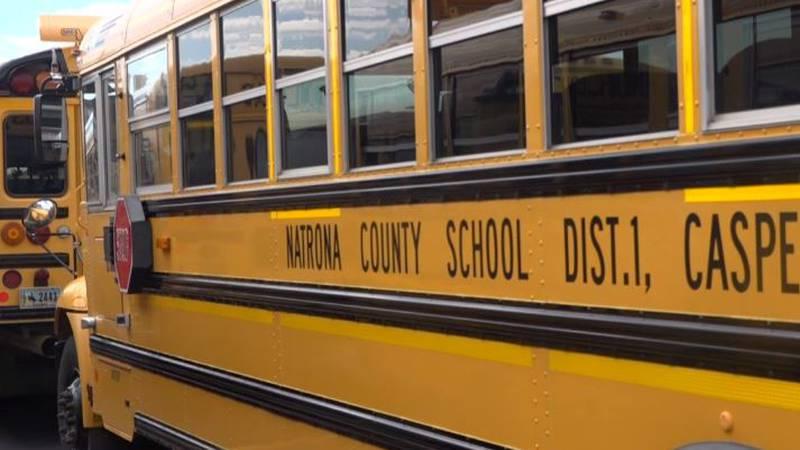 Natrona County School District bus sits in Casper, Wyo. (8/19/19).