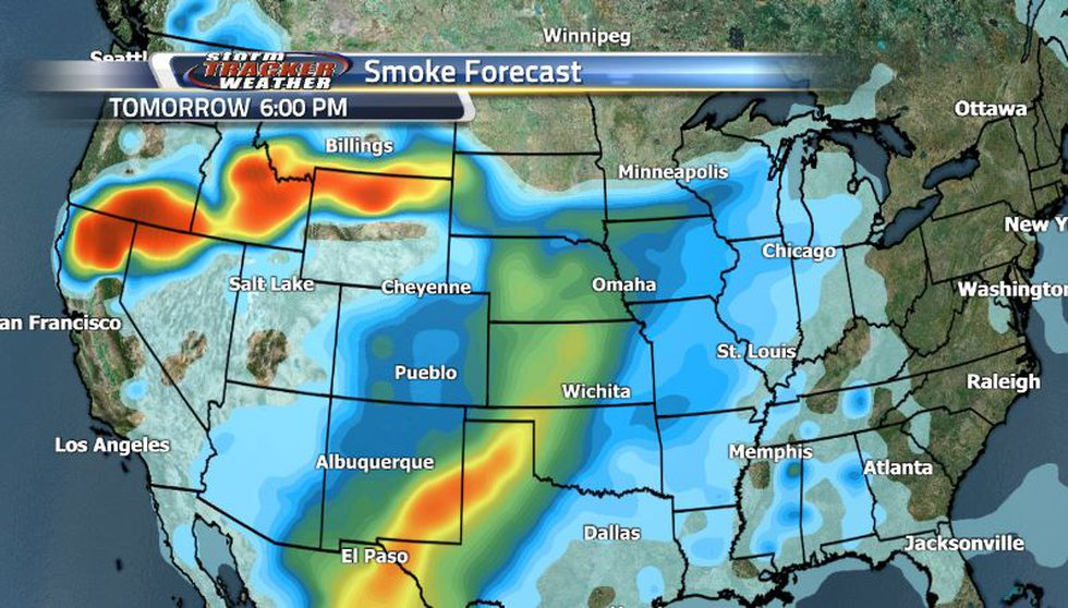 With the strong westerly winds, much of the thick and heavy smoke will be sticking to the...
