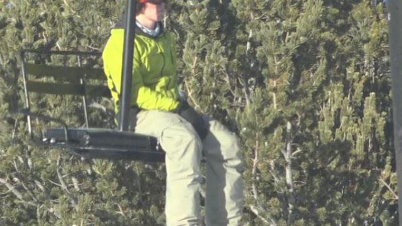 A Hogadon skier rides the lift during the 2020-2021 ski season.