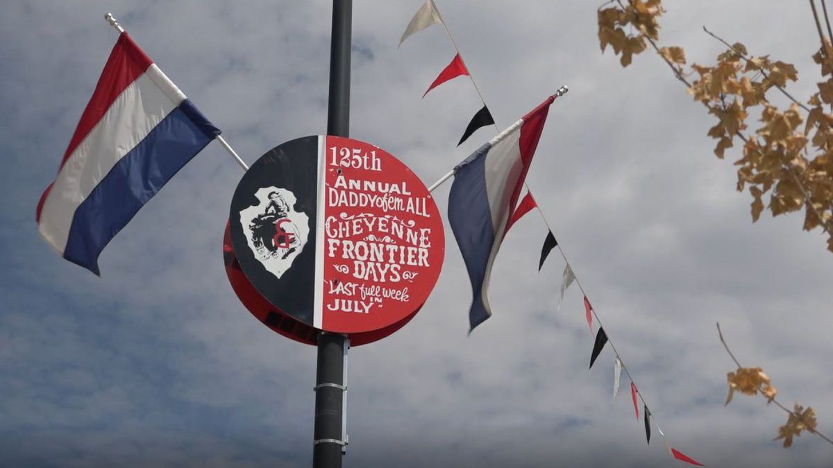 A Cheyenne Frontier Days sign in downtown Cheyenne on Thursday July 22, 2021.