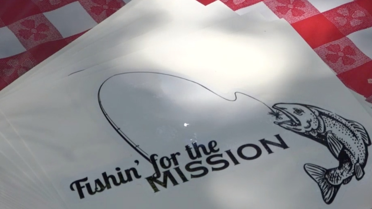"""A """"Fishin' for the Mission"""" sticker in Natrona County, Wyo. on Thursday, Aug. 27, 2020."""